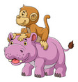big hippo and cute monkey vector image