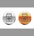 black line bag food for pet icon isolated vector image vector image