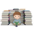 boy reading a bunch of books knowledge vector image