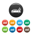 burning car icons set color vector image vector image