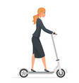 business woman on electric scooter flat vector image vector image