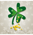 Card for St Patricks Day with clover and coins vector image