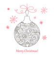 christmas card with hand drawn decorated ball vector image vector image