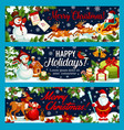 christmas holiday gifts greeting banners vector image vector image
