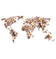 coffee world map with continent of hot drink cup vector image