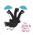 Comic Selfish Dragon in Rain with Umbrella Rough vector image vector image