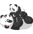 cute mother and baby panda vector image