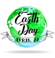 Earth Day calligraphy on watercolor background vector image vector image
