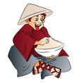excited man with a bowl of food vector image