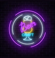 glowing neon beer bar glass sign in circle frames vector image vector image