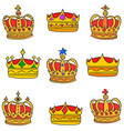 gold crown style various doodles vector image vector image