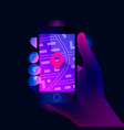 gps navigation app on mobile phone vector image vector image