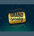 grand opening golden banner design vector image vector image