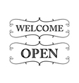 graphic vintage open and welcome vector image vector image
