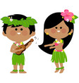 hawaiian children playing music and hula dancing vector image vector image