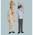 hipster style rabbit and giraffe mustache hat vector image