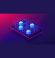 isometric blockchain application landing page vector image vector image