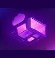 isometric cloud storage concept computer laptop vector image