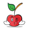 kissing face cherry character cartoon style vector image vector image
