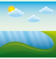 landscape in mountains river sun natural scene vector image vector image
