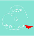 love is in the air red flying origami paper plane vector image vector image