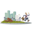 man runs on city street businessman hurries vector image vector image