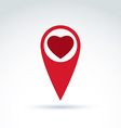 map pointer with a loving heart icon Place vector image vector image