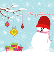 Merry christmas card with snowman and gift vector image vector image