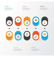 multimedia icons flat style set with archive vector image vector image