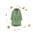 parka jacket of green color outerwear on the vector image