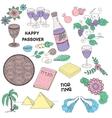 Passover symbols doodles set vector image vector image