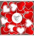 Pattern with big red hearts and many small hearts vector image vector image