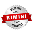 Rimini round silver badge with red ribbon vector image vector image