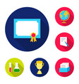 school and education flat icons in set collection vector image