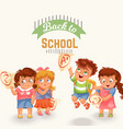 schoolchildren and marks icons set vector image vector image
