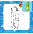 sea horse coloring page vector image vector image