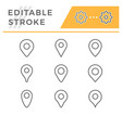 set line icons location pin vector image vector image