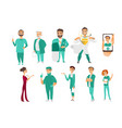 set of doctors therapists nurses medical staff vector image