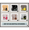 set of six bottle stickers vector image vector image
