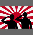 silhouette japan soldier on rising sun japan flag vector image vector image