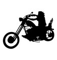 silhouetted motorcyclist on chopper vector image