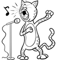 singing cat cartoon coloring page vector image vector image