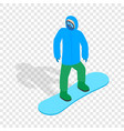 snowboarder with snowboard deck isometric icon vector image vector image