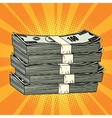 Stack of money dollar pop art retro vector image vector image