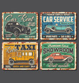 taxi and car rent service rusty metal plate vector image vector image