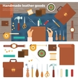 Tools for Handmade with Leather Hobby Concept vector image vector image