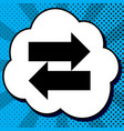 two arrows left-right sign black icon in vector image