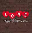 Valentine with heart on wall retro vector image vector image