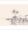 wharf drawing empty boats and palm trees on beach vector image vector image