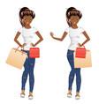 afro american shopping girl vector image